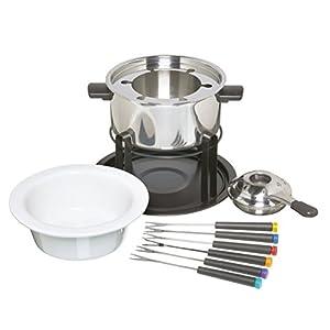 Kitchen Craft Fondue-Set mit Schüsseln aus Keramik und Edelstahl, inkl. 6 Gabeln