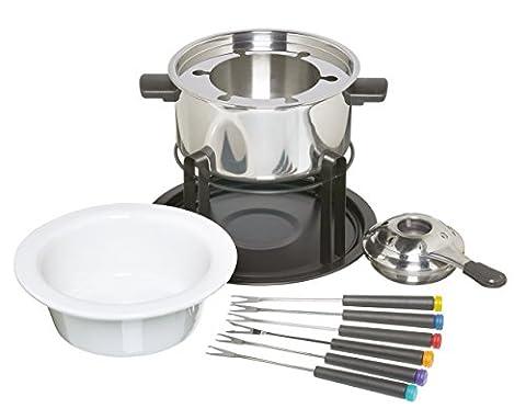 Kitchen Craft Service à fondue avec 6 fourchettes Bols en céramique et acier inoxydable