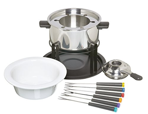 KITCHEN CRAFT - SET DE FONDUE DE ACERO INOXIDABLE Y CERAMICA (CON 6 PINCHOS)