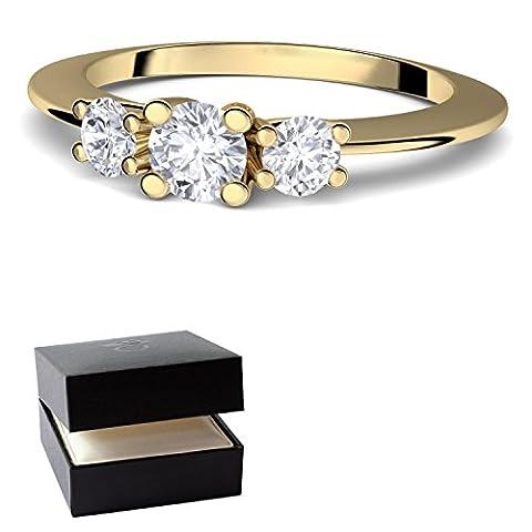 Goldring Verlobungsringe Gold von AMOONIC mit SWAROVSKI Zirkonia (Silber 925 hochwertig vergoldet) Vorsteckring Zirkonia Stein + GRATIS Luxusetui für Damen Heiratsantrag Gelbgold (9 Ct Goldringe)