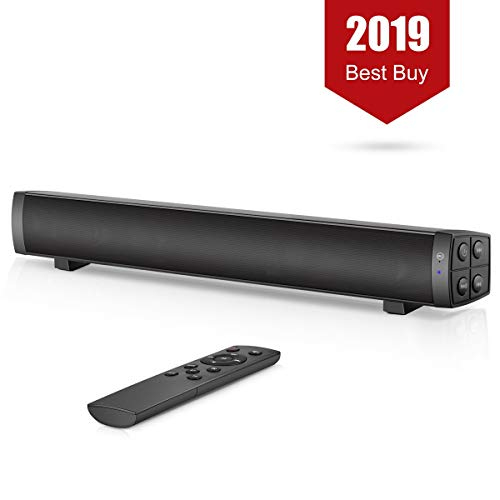 PC Soundbar, Wired and Wireless Computer Speaker Home Theater Stereo Sound Bar for PC, Desktop, Laptop, Tablet, Smartphone, TV [RCA, AUX], Black