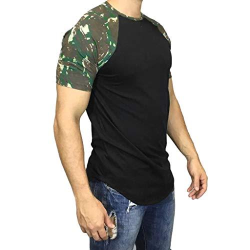 Shangqi Herren Sommer T-Shirt Rundhals-Ausschnitt Slim Fit Baumwolle-Anteil Moderner Männer T-Shirt Crew Neck Hoodie-Sweatshirt Kurzarm T Shirts Valueweight Kurzarm Casual Top Rundhals T-Shirts