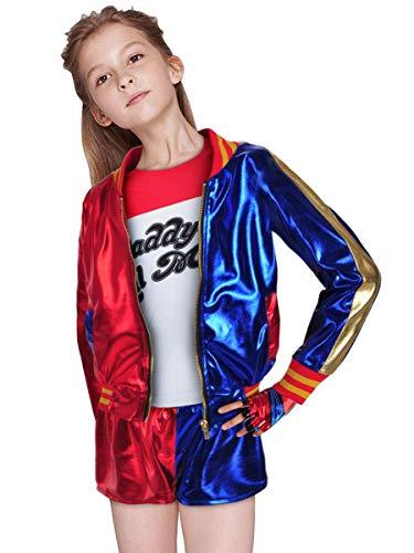 cosplaystudio Suicide Squad Harley Quinn Kinder Kostüm, mit Jacke Shorts T-Shirt, Größe: 140