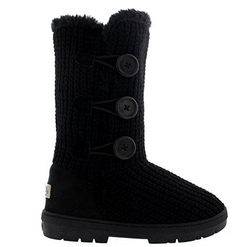 Damen Schuhe Triplet Knopf Fell Schnee Regen Stiefel Winter Fur Boots Schwarz Gestrickt