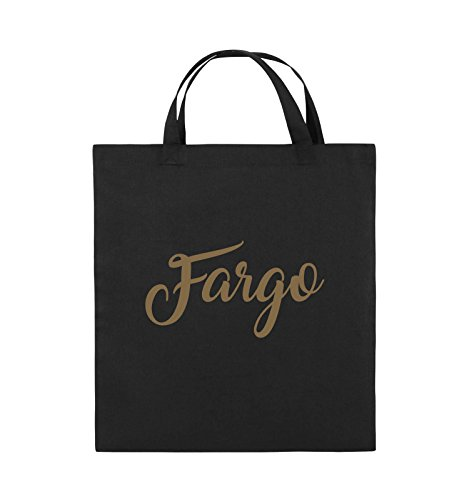Borse Comedy - Fargo - Logo - Borsa In Juta - Manico Corto - 38x42cm - Colore: Nero / Rosa Nero / Marrone Chiaro