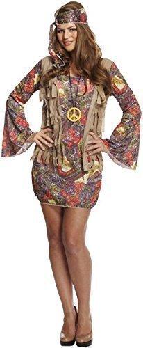 ppie Hippie Chick 1960s 1970s Kostüm Kleid Outfit (Am Besten Hippie Kostüme)