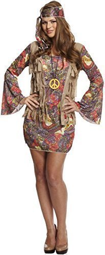 Fancy Me Damen Sexy Groovy Hippie Hippie Chick 1960s Jahre 1970s Kostüm Kleid Outfit (Chick Kleid Kostüm)