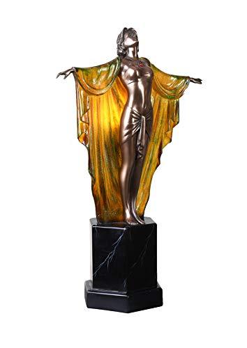 Tischleuchte Art Deco Frauenfigur Femme Fatale Vintage Lampe IS264 Palazzo Exklusiv
