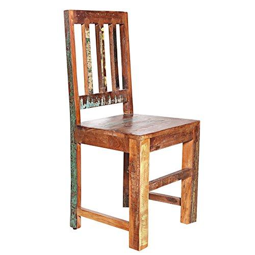 Holz Esszimmer Tisch Stühle (Invicta Interior Massiver Stuhl JAKARTA aus recycelten Fischerbooten Massivholz Holzstuhl 95cm)