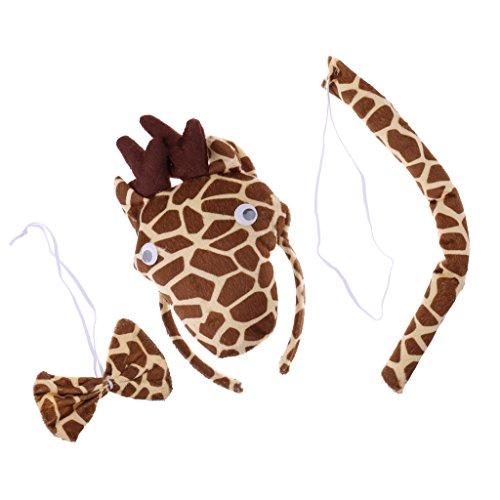 MagiDeal Giraffe-Kostüm Set - Haarreif, Fliege und Schwanz, Kinder Kostüm für Fasching Karneval Party (Giraffe Schwanz Kostüm)