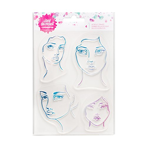 Jane Davenport Mixed Media Acrylic Stamps-4 Faces