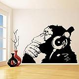 Stickers Muraux Vinyle Sticker Singe Avec Casque Chimp Ecoute De La Musique Dans Des Écouteurs Rue Graffiti Autocollant Affiche Murale 61X42Cm