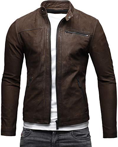 CRONE Epic Herren Lederjacke Cleane Leichte Basic Jacke aus weichem Schafs-Leder (M, Dunkelbraun (Nubukleder))