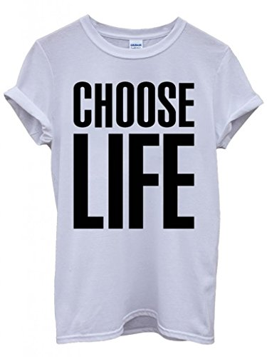 Unisex Choose Life T-shirt. Similar to the Katharine Hamnett shirt worn by 80s band Wham!