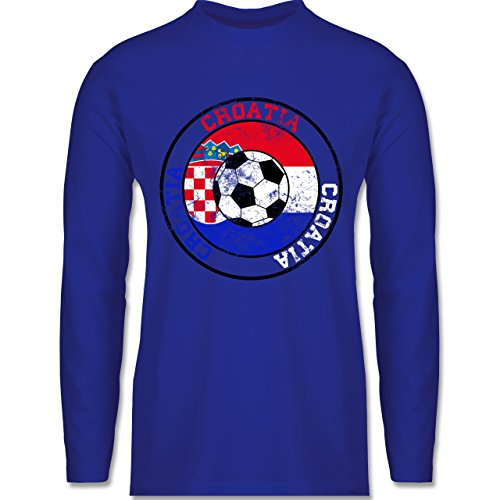 EM 2016 - Frankreich - Croatia Kreis & Fußball Vintage - Longsleeve / langärmeliges T-Shirt für Herren Royalblau
