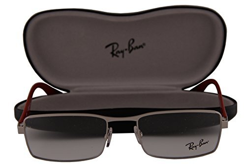 Ray-Ban RX6332 Eyeglasses 53-18-145 Matte Silver w/Red Temples 2538 RB6332 RX 6332 RB 6332 image