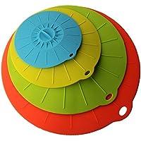 JSS, in Silicone per alimenti, con coperchio e ventosa, compatibile con varie misure e colori di ciotole, tazze, padelle, o contenitori 4 PCS Set