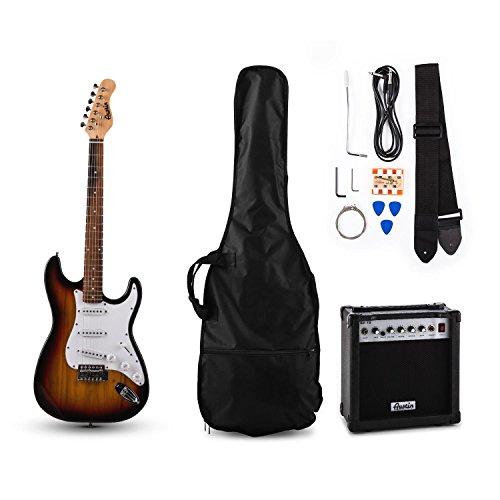 Austin RC100 E-Gitarren Bass Gitarre-Set Einsteiger Komplettset im Stratocaster-Style (10W Gitarrenverstärker, Instrumentenkabel, Gitarrengurt, Gitarrentasche, Stimmpfeife) sunburst