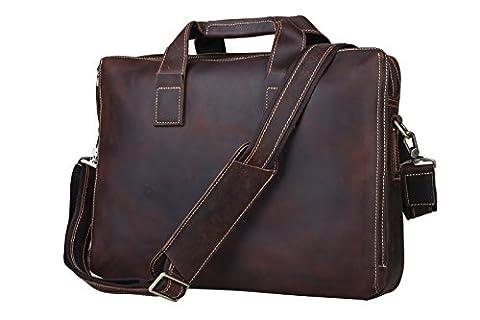 Tiding Men's Vintage Genuine Leather Messenger Handmade Leisure Satchel 15 Inch Laptop Shoulder Bag Briefcase Tote Handbag