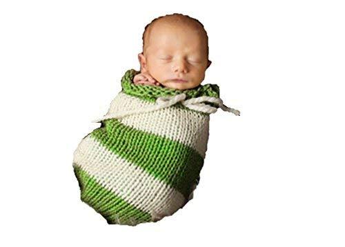 Matissa Baby Kleinkind Neugeborenen Hand gestrickt häkeln Strickmütze Hut Kostüm Baby Fotografie Requisiten Props (Cocoon Baby Stripy Grün) -