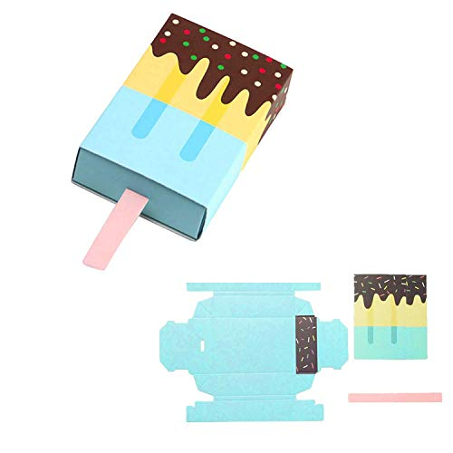 XZANTE 50 Teile/Paket Eiscreme Form Hochzeit Gunsten Sü?igkeitsk?sten Für Hochzeit Geburtstag Party Dekoration, Blau