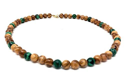 Halskette mit Perlen aus echten Olivenholz natur und grün eingefärbt - handgemacht - Holzschmuck - Schmuck aus Olivenholz - hand made