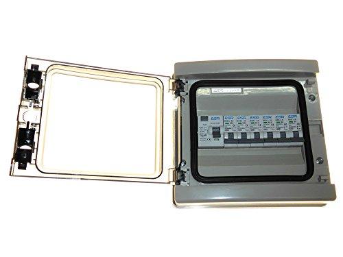 Pannello con 1 interruttore differenziale a 30 mA e 6 interruttori automatici magnetotermici 63 amp 30 mA (2 x 6A, 2 x 16A, 2 x 32A), impermeabile con certificazione IP65
