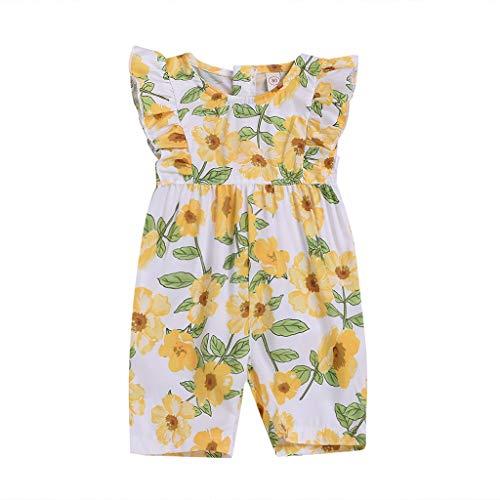 Julhold Grenouillère d'été en Coton pour bébé Fille Imprimé Floral Manches mouchées 0-3 Ans - Jaune - 2-3 Ans