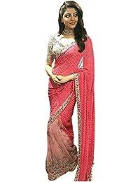 Isha Enterprise Women's Georgette Peach & Pink Thread Work Designer Saree