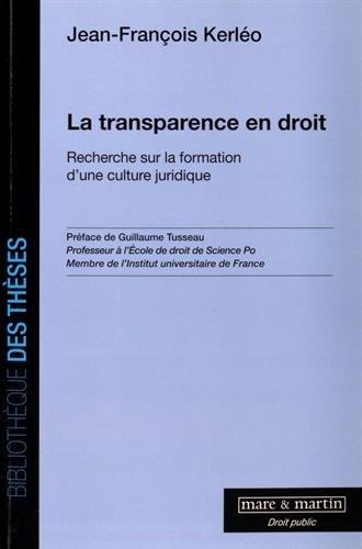 La transparence en droit: Recherche sur la formation d'une culture juridique.