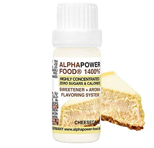 ALPHAPOWER FOOD Aroma alimentario - alimenticio, concentrado 1400{7bcaf4577b531ac88451ee3e0bd6c19e67164745b78309508d8dd03eb169483f}*, 1x10ml saborizante de alimentos Tarta de queso, vegano, gotas aromatizantes y edulcorante sin azúcar, sabor líquido