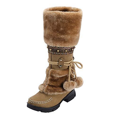 Mymyguoe Frauen Langschaft Stiefeletten Boots Wildleder Hairball Round Toe Square Heel Schuhe Halten warme Slip-On Schnee Stiefel Stylische Warme Kunstpelz Fell Gefüttert Winterstiefel