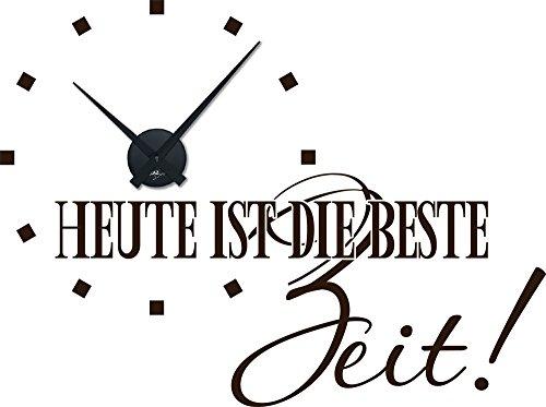Graz Design 800161 BK 080 Wandtattoo Uhr Wanduhr Modern Spruch Heute Ist Die Beste Zeit Deko Fr Wohnzimmer