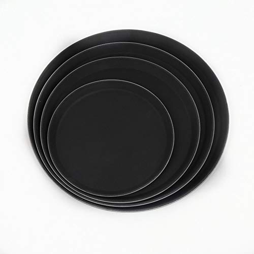 BSTLY vajilla plástica bandeja redonda restaurante restaurante ninguna huella antideslizante placa negro 35.5cm