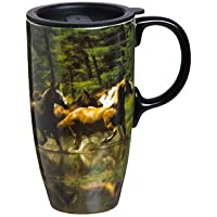 17 oz. Horse Play Ceramic Latte Travel Cup with Gift