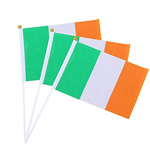 Amosfun 12 Stücke 14x21 cm Irische Flagge St.Patrick's Day Souvenir Irische Hand Signal Flagge No. -