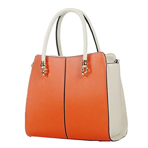WU ZHI Lady PU Vertikale Schnitt Schultertasche Messenger Bag Mode Handtasche,Orange-OneSize