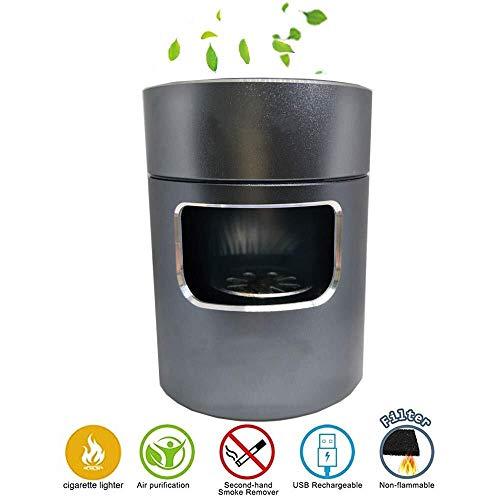 Multifunktional Luftreinigungsapparat Aschenbecher,USB Rauchfrei Aschenbecher Lufterfrischer,mit Performance Carbon Filter,Reduziert Gebrauchtrauch Schützen Familie Gesundheit,Passend für Zuhause/Büro