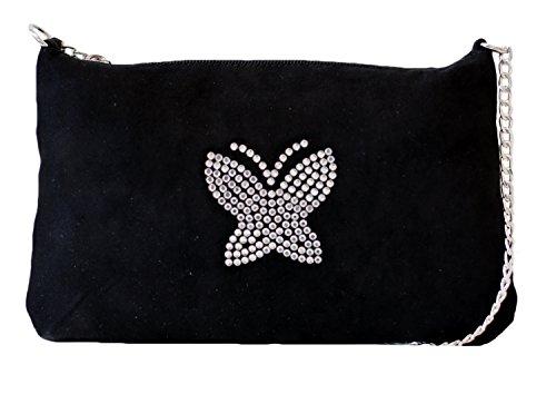 Borsa Donna, Pikla Flat Sachet Bag (Bustina piatta) in camoscio con logo in strass, angoli arrotondati. Chiusura con cerniera, tracolla con catena color Nikel. Fodera interna. Made in Italy. Nero