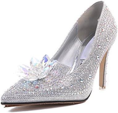KPHY Zapatos de mujer/Flor De Cristal De 9 Cm De Tacon Alto Zapatos Zapatos De Novia De La Boda De Plata De Dama...