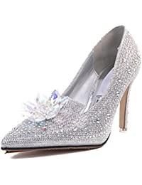 1059050354039 KPHY-Women s shoes Crystal Shoes Flower 9Cm High Heel Bride Wedding Dress  Shoes Silver