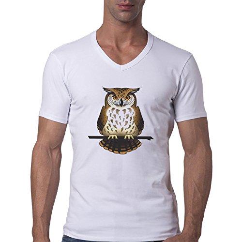 Owl Bird Night Midnighter Brown Fat Herren V-Neck T-Shirt Weiß