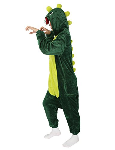 LATH.PIN Jumpsuit Tier Karton Fasching Halloween Kost¨¹m Sleepsuit Cosplay Fleece-Overall Pyjama Schlafanzug Erwachsene Unisex Lounge Nachtw?sche S/M/L/XL