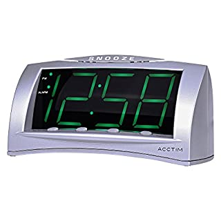 Acctim Astral Jumbo LED Digital Snooze Alarm Clock & Charging Port | Silver