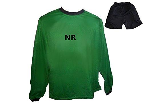 Torwart Trikot gepolstert Grün kurze TW Hose mit Wunschname Nummer Kinder Grösse 152 (Jugend-fußball-torwart Trikot-mädchen)