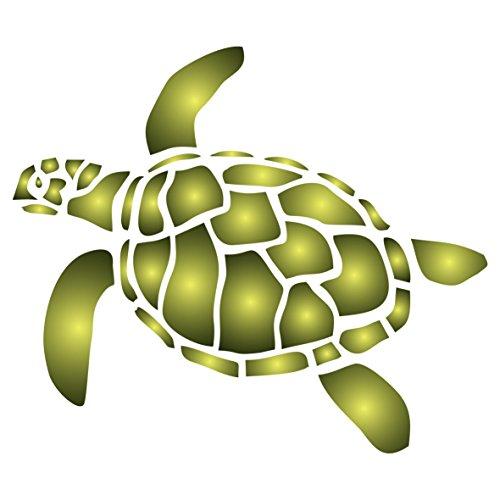 Schildkröte Schablone–wiederverwendbar Sea Ocean Nautische Seashore Reef Wand Schablone–Vorlage, auf Papier Projekte Scrapbook Bullet Tagebuch Wände Böden Stoff Möbel Glas Holz usw. L