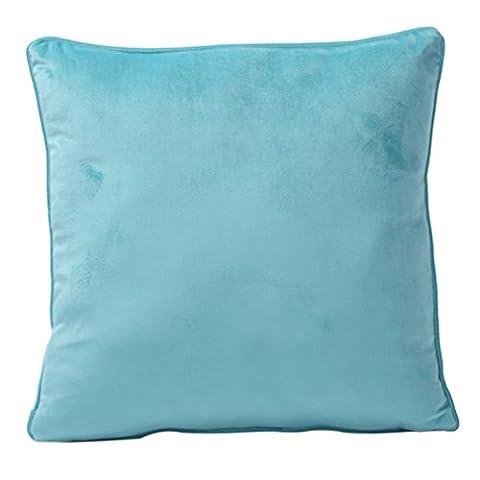Nunubee Housse de coussin decoratif scandinave deco chambre Couleur unie Flanelle tissu de velours decoratif canape, Ciel bleu 45*45cm