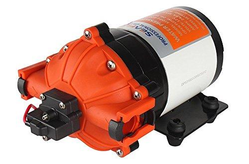 LIGHTEU DC 12V 7.0GPM/26.5LPM 4.1 bar, 5-Chamber 60 PSI mit automatischer Schalter Wasserdruck Membranpumpe, Druckpumpe für Marine, Boote, Yacht, Wohnwagen, Camping, Outdoor, Garten -