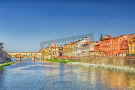 Alu-Dibond-Bild 80 x 50 cm: 'Beautiful panoramic view of the Arno River and the town of Renaissance...