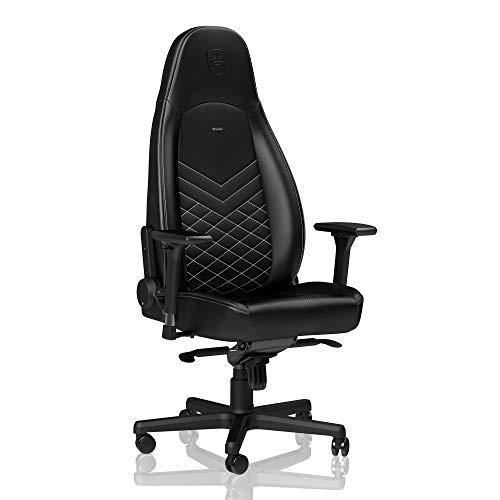 noblechairs Icon Chaise de Gaming - Chaise de Bureau - Cuir Synthétique PU - 150 kg - Inclinable - Coussin de Soutien Lombaire - Design du Siège de Course - Noir/Blanc